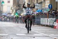 Belgian Jan Bakelants of AG2R La Mondiale Team celebrates on the podium of the Gran Piemonte cycling race, over 185 km from San Francesco al Campo, Turin to Ciriè, Turin, Italy, 2 October2015. ANSA/ANGELO CARCONI